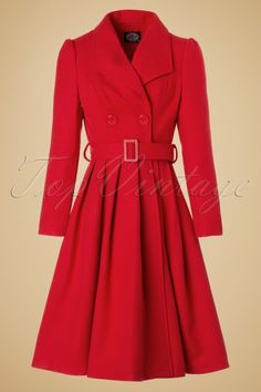 Hearts & Roses ~ 50s Rita Swing Coat in Bright Red