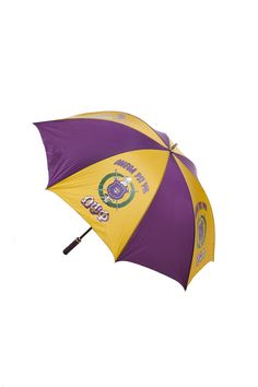 Omega Psi Phi Jumbo Umbrella is available in Purple and Gold. Dimensions: 30-inch, with fiberglass shaft with acrylic handle.