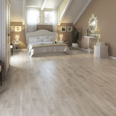 Yasur Grey Laminate flooring m² - B&Q for all your home and garden supplies and advice on all the latest DIY trends Grey Laminate Flooring, Wood Laminate, Best Laminate, Bedroom Flooring, Home And Deco, Little Houses, Beautiful Bedrooms, Decoration, Olsen