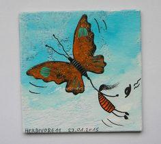 WEGFLIEGEN von Herbivore11 Unikat Minibild Inchie Schmetterling Hut Freiheit süß Mini, Moose Art, Ebay, Animals, Liberty, Insects, Painting Art, Pictures, Animales