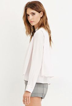 Forever 21 is the authority on fashion & the go-to retailer for the latest trends, styles & the hottest deals. Shop dresses, tops, tees, leggings & more! Forever 21 Uk, Shop Forever, White Chiffon, Chiffon Tops, Work Tops, White Tops, Latest Trends, Bell Sleeve Top, Tunic Tops