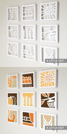 """Paper Quilts"" - stencil a design on the back of a canvas, cut out with an xacto, glue colored paper to the back."