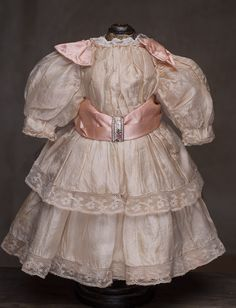 "Antique Original Peach SIlk Dress for doll about 20-21"" (51-54 cm)"