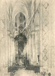 Jules De Bruycker - Tekeningen - potlood, inkt, ingekleurde, krijt - Dessins - Drawings/A0009 ST.NIKLAASKERKE