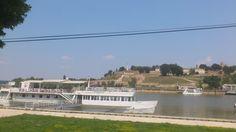 Savski kej, river Sava, view to Kalemegdan fortress, Belgrade