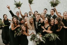 This Jacksonville Wedding at The Glass Factory Flawlessly Mixes Charcoal Grey and Greenery Wedding Blog, Our Wedding, Wedding Venues, Sparkly Jumpsuit, Front Braids, Green Garland, Funny Wedding Photos, Bridal Shower Rustic, Sweet Couple