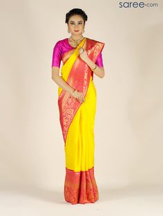 YELLOW AND PINK KANJIVARAM SILK SAREE WITH ZARI WORK