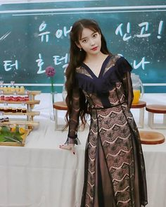 Hotel Del Luna IU Fashion - Black Lace Dress, You can collect images you discovered organize them, add your own ideas to your collections and share with other people. Iu Twitter, Luna Fashion, Fashion Black, Actrices Hollywood, Pretty Asian, Korean Actresses, Suzy, Asian Beauty, Korean Fashion