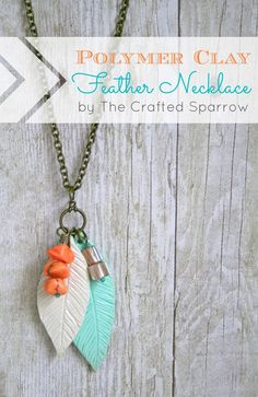 Polymer Clay Feather Necklace  #polymerclay, #feather, #necklace via @Rebecca - {The Crafted Sparrow} SO CUTE!