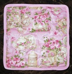 Tea Pot Quilted Fabric Trivet Quilted Pot Holder Table Mat | Etsy Tea Party Theme, Tea Party Decorations, Pink Table, Hand Quilting, Pot Holders, Tea Pots, Shabby, Fabric, Handmade