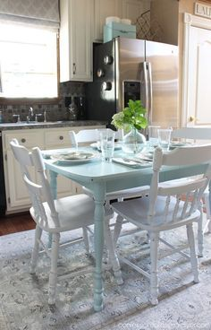 Paint a laminate kitchen table top! Watery by HGTV Home from Sherwin Williams