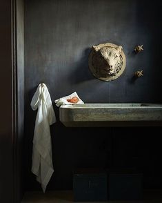Oh my this bathroom. A bear head for a tap. maybe just for the causal guest toilet ? Image : Architect : Dan Hale Home of : Patricia Adrian Hanson Styling and photos : Laurie Frankel & Christina Watkins Gray Interior, Interior Design Living Room, Interior And Exterior, Pantone, Sweet Home, New Toilet, Guest Toilet, Tadelakt, Chinese Furniture