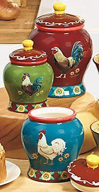Rooster Kitchen Decor Canisters. We all need them, but aren't these Rooster canisters better than blah ones? I think so!