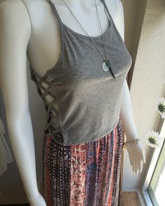 New in the store this month   Earl Gray Detailed Crop Tank  Women junior fashion style attire outfit summer spring 2016