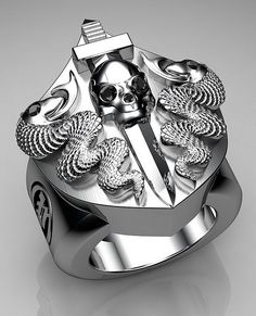 Unique Mens Ring Snake and Skull Shield Ring Sterling Silver with Black Diamonds By Proclamation Jewelry by ProclamationJewelry Skull Jewelry, Jewelry Rings, Jewellery, Man Jewelry, Gold Jewelry, Unique Mens Rings, Cool Rings For Men, Biker Rings, Fashion Rings