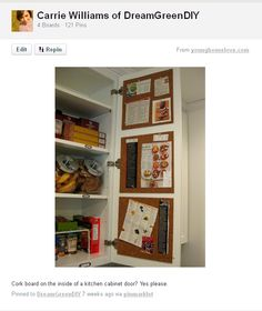 cork board inside kitchen cabinets