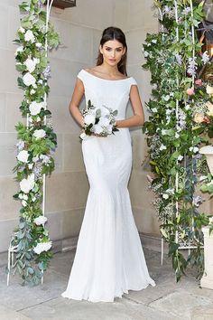 Maya White Sequin Boat Neck Bridal Dress