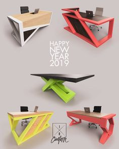 💥Happy New Year!💥 Thank you to all of our family, friends clients for making 2018 all that it was! 🤯😁🥞💣📐 Heres to making 2019 even… Tea Table Design, Office Table Design, Modern Office Design, Office Furniture Design, Modern Desk, Modern Wood Furniture, Vintage Industrial Furniture, Steel Furniture, Cool Furniture