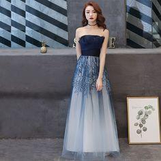 31390a5c6 Hermoso Marino Oscuro Degradado De Color Vestidos de noche 2019 A-Line    Princess Sin