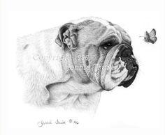 11 x 14 English Bulldog and Butterfly Art Print by jennietruitt, $20.00