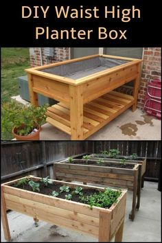 Add this inexpensive waist high planter box to your garden! Add this inexpensive waist high planter box to your garden! Garden Planter Boxes, Diy Planters, Box Garden, Raised Planter Boxes, Raised Garden Planters, Elevated Garden Beds, Balcony Garden, Vegetable Planter Boxes, Building Planter Boxes