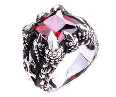 Cheap Steel Claw Garnet Mens Dragon Wedding Ring