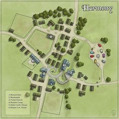 With the fairly recent announcement that Blue Rose Second Edition is on it's way I decided to revisit the original introductory adventure and make a map. Village of Harmony Fantasy City Map, Fantasy Village, Fantasy World Map, Fantasy Castle, Fantasy Places, Rpg Pathfinder, Environment Map, Pen & Paper, Village Map
