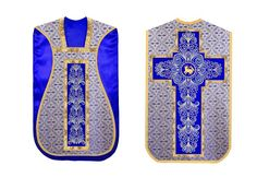 Royal Blue #Fiddleback #vestments #roman #chasuble with gold lined agnus dei embroidered