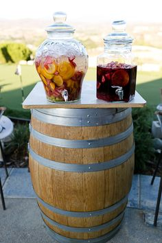 Sangria drink at wedding rehearsal dinner and on top of wooden barrel, #wedding #destination #sangria Temecula Wedding Rehearsal Dinner Destination Wedding Photographer | Dallas Wedding Photographer, Fort Worth Wedding Photography, Modern Engagement Photography, Wedding Inspiration Blog