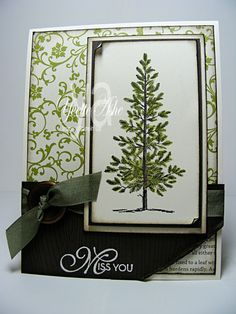 MIss You - Lovely As a Tree by Yvette - Cards and Paper Crafts at Splitcoaststampers Christmas Card Crafts, Christmas Cards To Make, Xmas Cards, Christmas Tree, Hand Made Greeting Cards, Making Greeting Cards, Greeting Cards Handmade, Beautiful Christmas Cards, Miss You Cards
