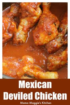 Mexican Deviled Chicken, Or Pollo A La Diabla, With Video. A Great Weeknight Meal That The Entire Family Will Love. It Comes Together Quickly And Is Full Of Yummy, Robust Flavors. Appreciate By Mama Maggie's Kitchen Chicken Leg Recipes, Chicken Drumstick Recipes, Baked Chicken, Chicken Legs, Crack Chicken, Mexican Cooking, Mexican Food Recipes, Authentic Mexican Chicken Recipes, Pollo A La Diabla Recipe