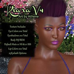 """Kiara+V4+-+$6.50+:his little lady can be any type of character you need. She can be the girl next door, steampunk maven or warrior of many types. Your imagination is the only thing holding you back. She has a beautiful """"chocolate"""" skin tone.  Kiara comes with many options to use:  1 default NS skin mat 1 default SSS skin mat x5 NS eye colors x5 NS lip colors x3 eye lash options x5 SSS eye colors x5 SSS lip colors Morph INJ/REM"""