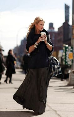 love the maxi with the sweater and arm party. gorgeous.