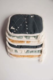 birchfabrics: Tutorial: Organic Canvas Pot Holders from Guest Blogger: Aesthetic Nest.