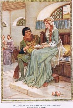Sir Lancelot and the Queen talked sadly together, from 'King Arthur and the Knights of the Round Table', by Doris Ashley, published 1921