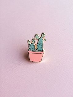 justine gilbuena Cactus Craft, Prickly Pear Cactus, Badge Design, Cute Little Things, Pin And Patches, Hard Enamel Pin, Cute Pins, Lapel Pins, Pin Collection