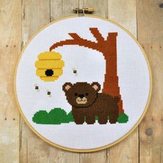A beary, beary cute cross stitch design. #bear #bees #cute #cross_stitch #stitchery #crafts