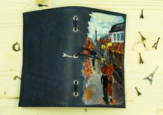 This is a fully hand painted cover. The cover has been decorated by hand using acrylic dyes. Our artist Katya has painted her illustration on the cover using motives from different Paris photos and paintings. Elastics and Eiffel Tower charm are included.  We have put illustration with brown leather to show how it looks like with inserts.