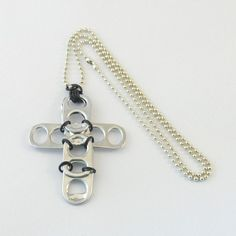 Pop Can Tabs Crafts | Pop Can Tab Crafts / black pop tab cross necklace