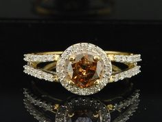 Ladies 10K Yellow Gold 1.01 Ct. Round Cut Cognac Brown Diamond Engagement Ring | eBay