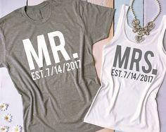 El Sr. y la Sra. parejas camisas. Camisetas por BrideAndEntourage