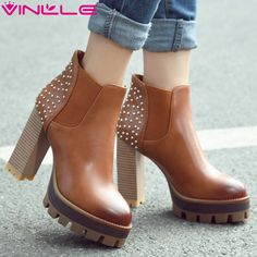 33.14$  Buy here  - VINLLE 2016 Women British Style PU Boots Rivets Square High Heel Ankle Boots Round Ladies Platform Motorcycle Boots Size 34-42