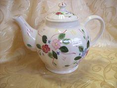 Blue Ridge Pottery China Teapot in the Chintz Pattern  antiquesatpurplecow.com