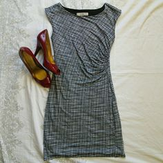 LOFT Classy Black & White Checked Dress Left side ruching. Sleeveless. Stretchy and comfortable rayon/tencel shell with polyester lining. LOFT Dresses Midi
