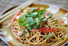 Thai Peanut Noodles with Chicken!  Very low-fat!  6 WW point plus  My family hates greasy Chinese! This looks like a winner!