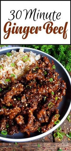 Thinly sliced beef, fried until crispy, and coated in a garlic and ginger sauce; 30 Minute Ginger Beef is an expensive dinner the whole family will love! Sliced Beef Recipes, Roast Beef Recipes, Beef Recipes For Dinner, Pasta Recipes Meat, Beef Dinner Ideas, Beef Pasta, Asian Recipes, Healthy Recipes, Ground Beef Recipes Asian