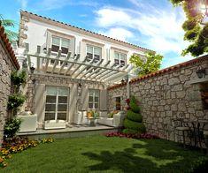 Alaçatı taş ev modelleriAlaçatı taş ev modelleri Exterior Design, Interior And Exterior, Patio, Backyard, Greek House, Stone Houses, Outdoor Walls, Home Fashion, Sweet Home