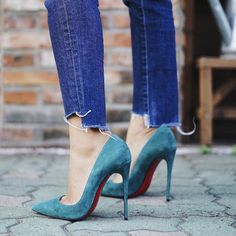 Blue pumps with your jeans high heels dress outfits Christian Louboutin, Louboutin Shoes, Stilettos, Pumps Heels, Suede Heels, Jeans Heels, Shoe Boots, Ankle Boots, Ankle Heels