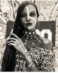 African inspired -- awesome geometric patterns. Body painting.