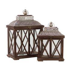 Woodland Imports BRU-1135368 Classic & Traditional Wooden Lanterns (set of 2)